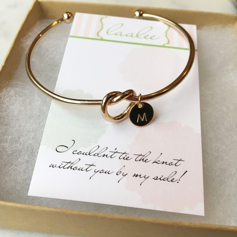 Tie the Knot Gift, Gold Knot Bangle, Love Knot Bracelet, Knot Bangle, Personalized Bachelorette, Help Me Tie the Knot, Tie the Knot Bangle