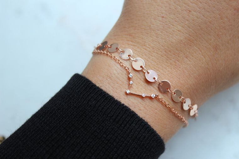 Zodiac Jewelry, Constellation Jewelry, Valentines Day Gift, Coin Bracelet, Zodiac Bracelet, Rose Gold Bracelet Stack, Layered Bracelet Set