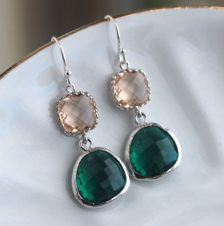 Emerald Green Champagne Blush Earrings Peach Pink Jewelry - Sterling Silver Earwires - Bridesmaid Earrings - Bridal Earrings