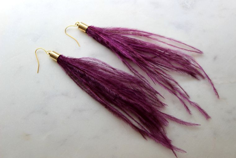Purple Feather Earrings, Purple Feather Jewelry, Long Fringe Earrings, Long Feather Earrings, Bohemian Earrings, Purple and Gold, Gameday