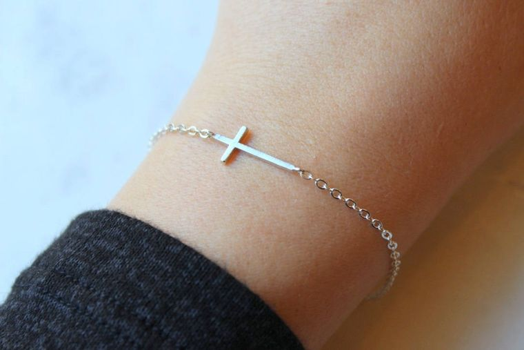 Silver Sideways Cross Bracelet, Sideway Cross, Sideways Cross, Trending Now, Cross Gift Ideas Dainty Cross, Relationship Gift Cross Bracelet