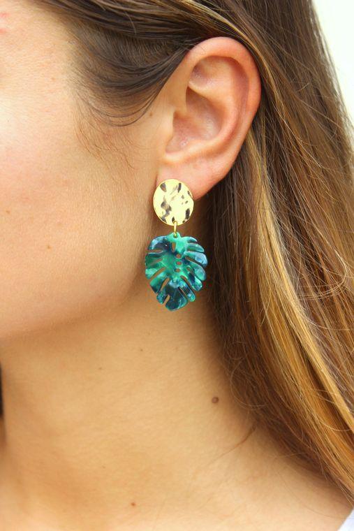 Monstera Leaf Earrings, Monstera Jewelry, Monstera Leaf, Resin Earrings, Gold Acrylic Earrings Statement Earrings Leaf Jewelry Stud Earrings