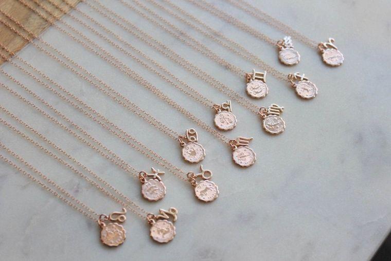 Celestial Gift, Double Zodiac Necklace, Zodiac Coin Necklace, Zodiac Disc Necklace, Coin Zodiac Jewelry, Zodiac Charm, Zodiac Sign Necklace
