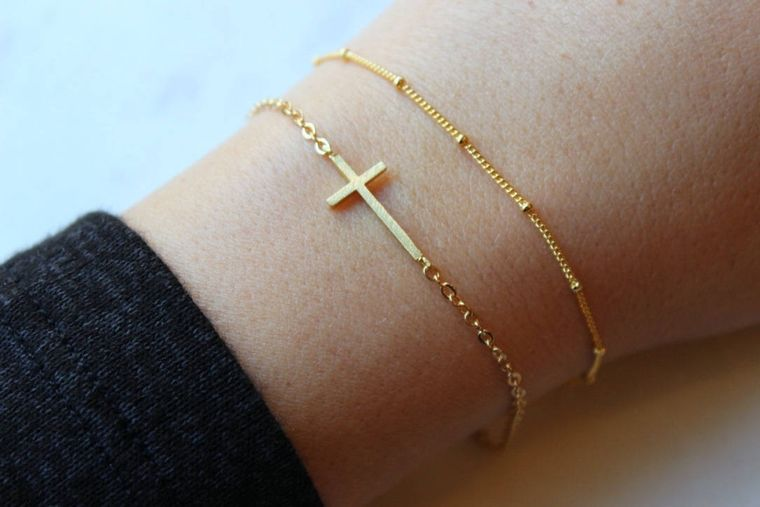 Dainty Bracelet Set, Gold Sideways Cross, Gold Sideway Cross, Dew Drop Bracelet, Dew Drops, Dew Drops Bracelet, Trending Now, Sideways Cross