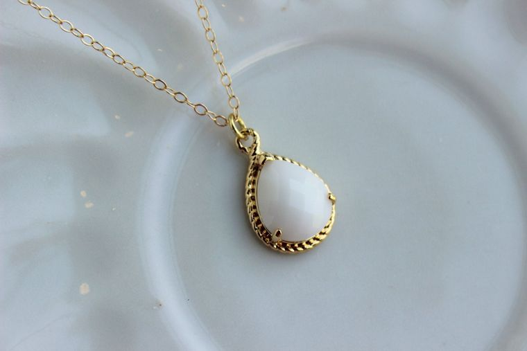 Gold White Opal Necklace Cream Ivory Jewelry - 14k Gold Filled Chain - Wedding Jewelry - Bridesmaid Jewelry - White Opal Bridesmaid Necklace