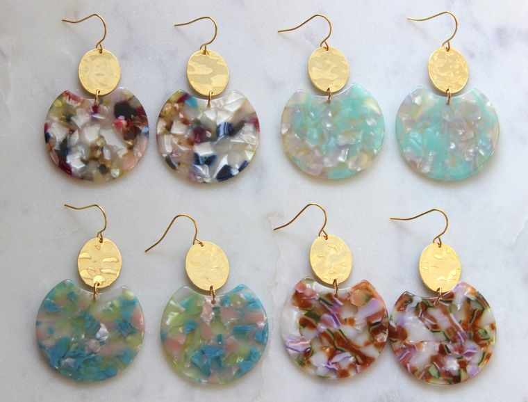 Fun Statement Earrings, Colorful Earrings, Fall Statement Earrings, Autumn Earrings, Gold Acrylic Earrings, Statement Jewelry, Big Earrings