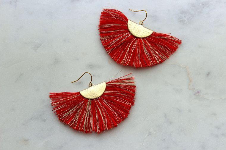 Red Fan Fringe Earrings, Gold Fan Fringe Earrings, Matte Gold Red Earrings, Gameday Earrings, Fan Tassel Earrings, Red Tassel Earrings