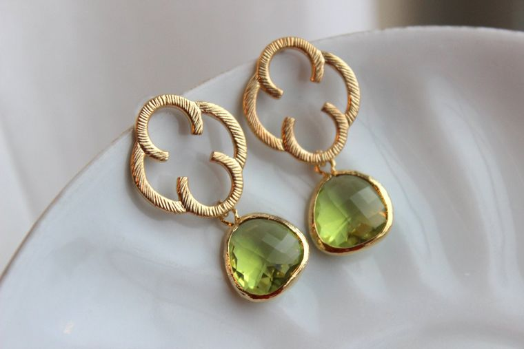 Peridot Green Earrings Gold Clover Quatrefoil - Sterling Silver Posts - Bridesmaid Earrings - Wedding Earrings - Peridot Wedding Jewelry