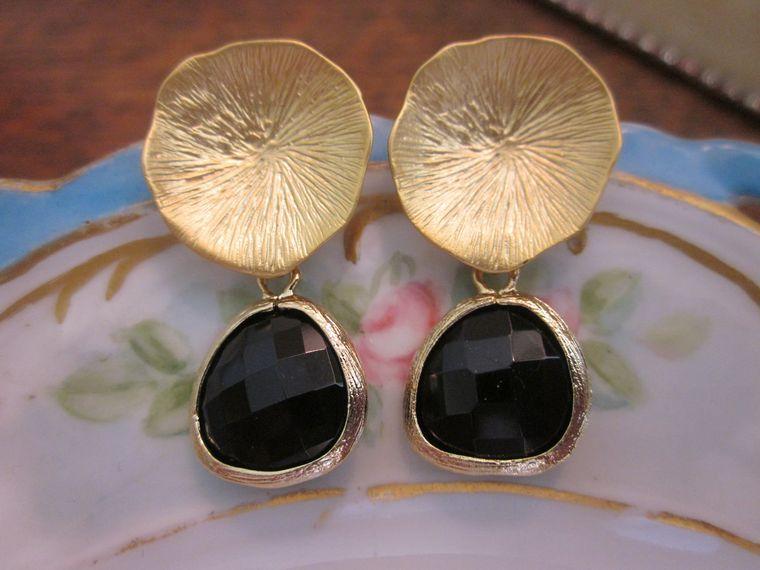 Black Onyx Earrings with Gold Mushroom Coral - Bridesmaid Earrings - Bridal Earrings