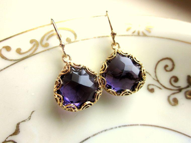 Gold Amethyst Earrings Purple - Pear Shape with Gold Design - Bridesmaid Earrings - Wedding Earrings
