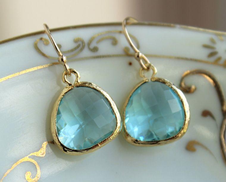 Aquamarine Blue Earrings Gold Plated - Aquamarine Bridesmaid Earrings - Wedding Earrings - Aqua Bridal Earrings - Blue Topaz Bridal Jewelry
