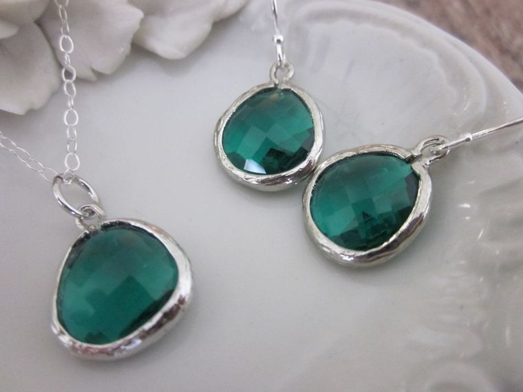 Necklace & Earring SET - EMERALD GREEN Glass Gem Pendants on Sterling Silver Earwires and Chain