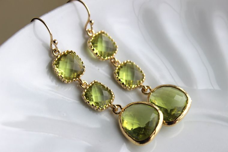 Apple Green Peridot Earrings Gold Three Tiered Jewelry - Peridot Bridesmaid Earrings - Green Wedding Earrings - Peridot Wedding Jewelry