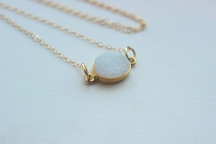 Gold White Opal Druzy Necklace Natural Druzy Jewelry - White Opal Drusy Necklace Druzy Christmas Gift Under 20 Necklace Statement Jewelry