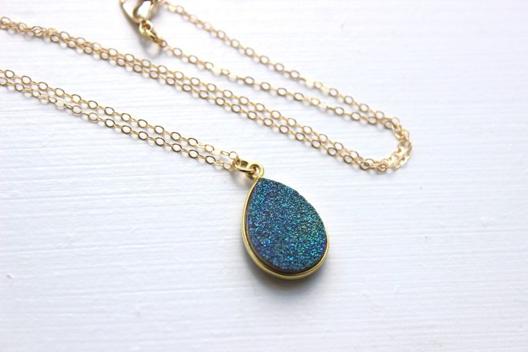 Gold Green Druzy Necklace Natural Druzy Jewelry Teal Drusy Necklace Jewelry - Greenish Blue Druzy Christmas Gift Teardrop Statement Jewelry
