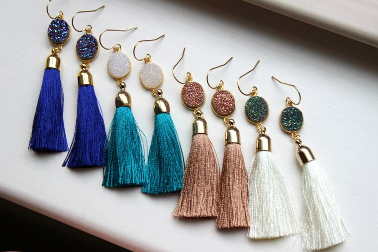 Gold Tassel Earrings Drusy Jewelry Drusy Earrings, Coworker Gift Fringe Druzy Earrings, Christmas Gift Statement Jewelry Gold Fringe Jewelry