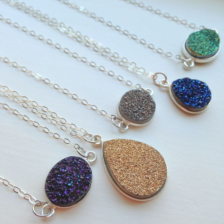 Silver Druzy Necklace Druzy Jewelry Drusy Necklace Jewelry - Gray Gold Blue Green Purple Druzy Christmas Gift Layering Statement Jewelry