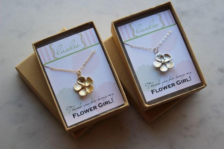 Flower Girl Necklace, Flower Girl Gift, Flower Girl Proposal, Gold Flower Necklace, Silver Flower Necklace, Nature Lover Gift, Botanical