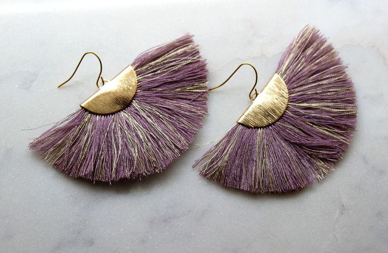 Purple Fan Fringe Earrings, Gold Fan Fringe Earrings, Fan Fringe Jewelry, Purple and Gold Earrings, Gameday Earrings, Fan Tassel Earrings