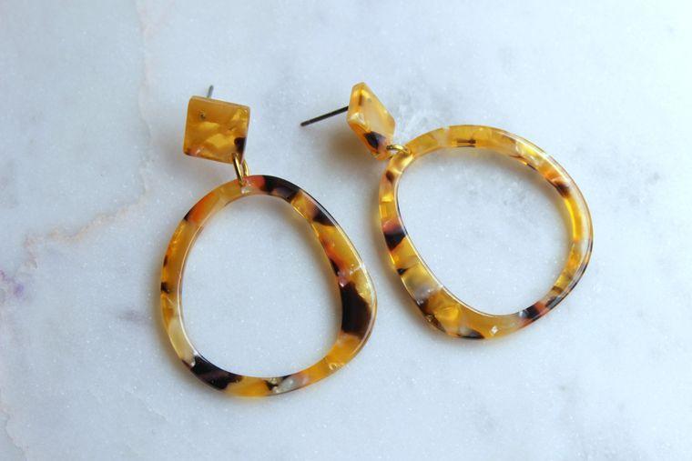 Tortoise Shell Hoop Earrings, Tortoise Shell Earrings, Tortoise Shell Jewelry, Stud Earrings Resin Earrings Acrylic Earrings Acetate Jewelry