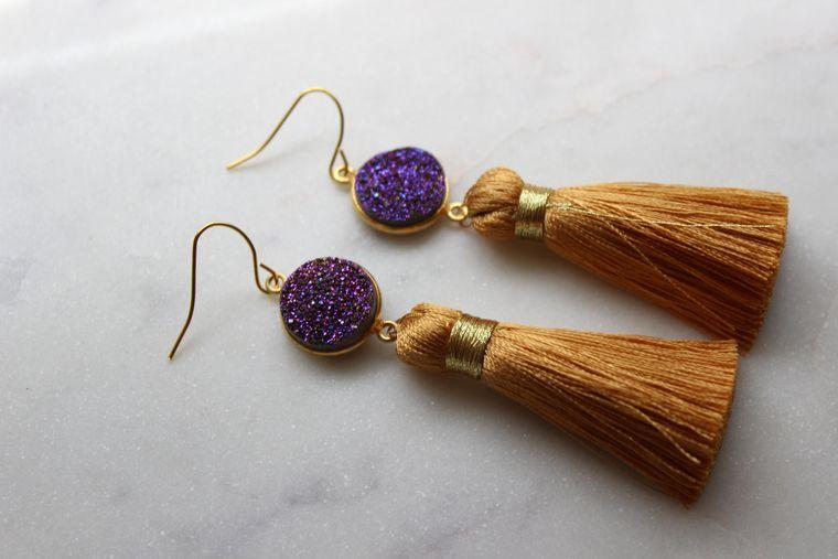 Gold Druzy Earrings, Tassel Earrings, Gold Drusy Earrings, Purple Druzy Earrings, Gold Druzy Jewelry, Druzy Tassel Earrings, Purple and Gold