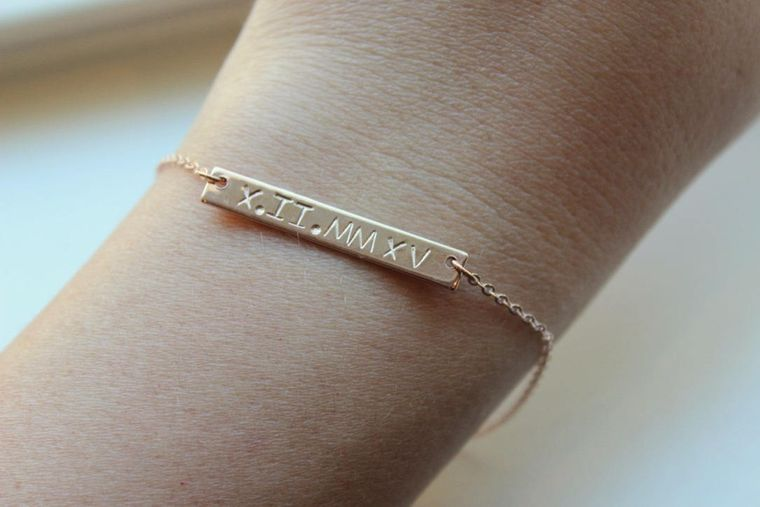 Rose Gold Roman Numeral Bracelet, Roman Numeral Bar Bracelet, Roman Numeral Number, Roman Numeral, Roman Numerals, Roman Numeral Jewelry