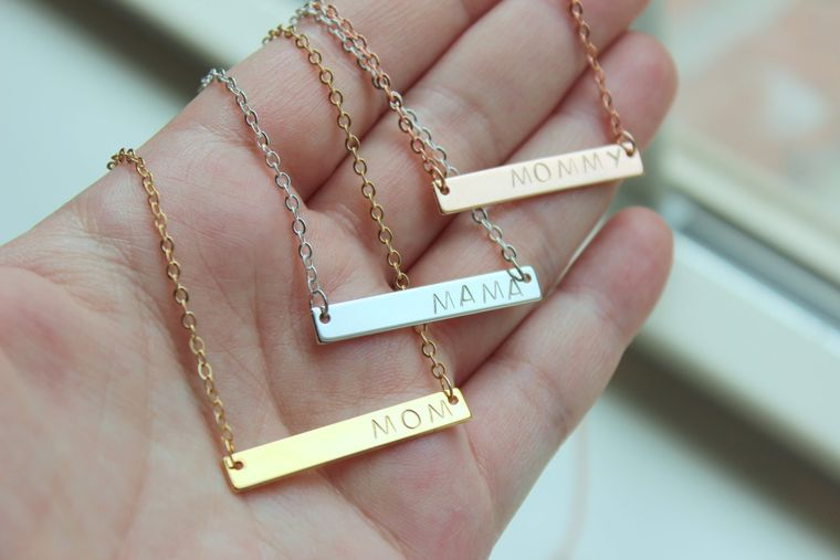 Personalized Mama Necklace, Mama Jewelry, Mom Necklace Gift Mothers Day Gift , Mommy Necklace, Gold Bar Necklace, Bar Jewelry, Push Present