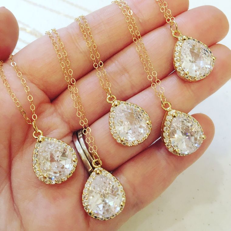Large Gold Necklace - Gold CZ Jewelry - Clear Crystal Necklace - Bridal Jewelry - Bridesmaid Jewelry - Wedd