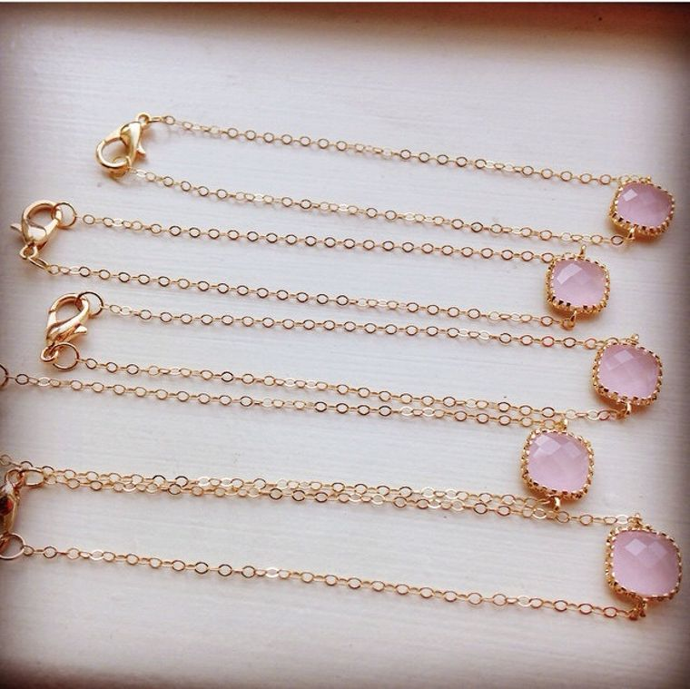 Gold Dainty Pink Bracelet - Gold Filled Chain - As seen on Instagram