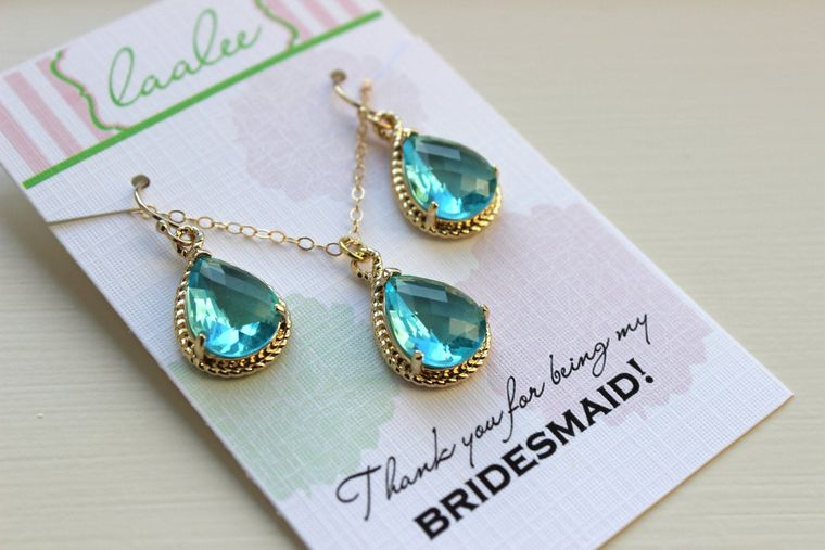 Aquamarine Necklace and Earring Set Topaz Blue Gold Jewelry Set - Personalized Card Thank you for being my bridesmaid Aquamarine Jewelry Set