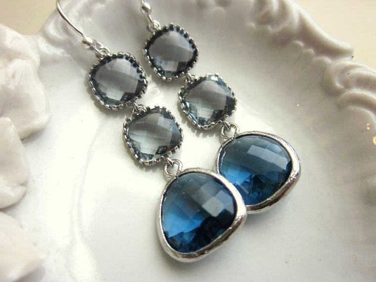 Sapphire Navy Earrings Charcoal Gray Earrings Silver - Bridesmaid Earrings - Wedding Earrings - Valentines Day Gift