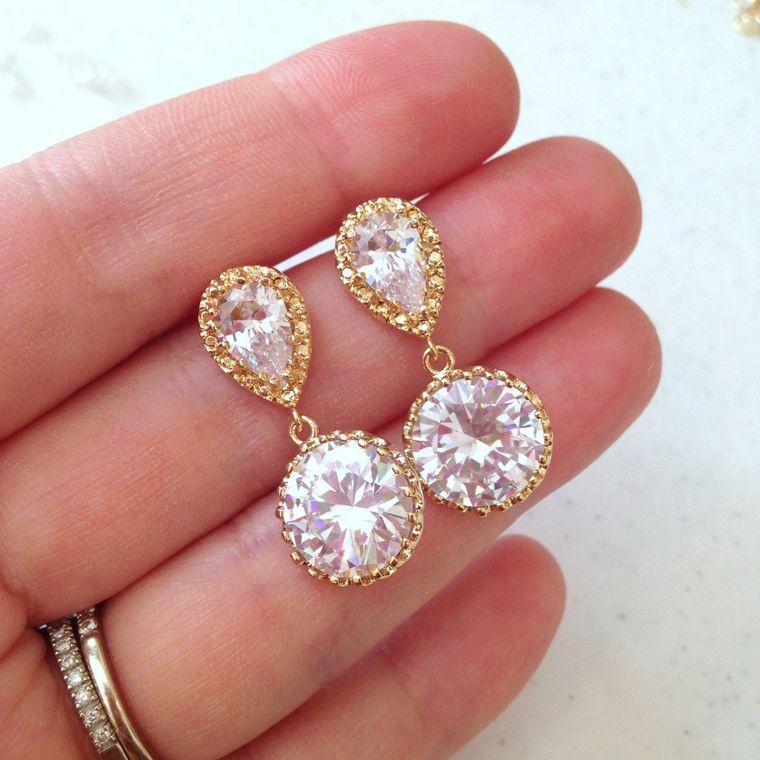 Gold Crystal Stud Earrings Teardrop Clear Jewelry - Crystal Bridal Earrings - CZ Clear gold Bridal Accessories Wedding Bridesmaid Jewelry