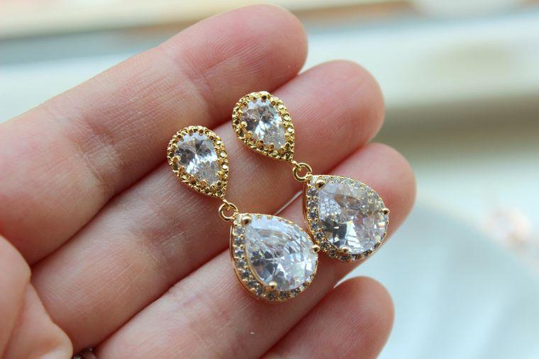 Gold Earrings, Crystal Stud Earrings, Crystal Jewelry, Bridal Jewelry, Wedding Jewelry, Bridal Earrings, Wedding Earrings, Bridesmaid Gift