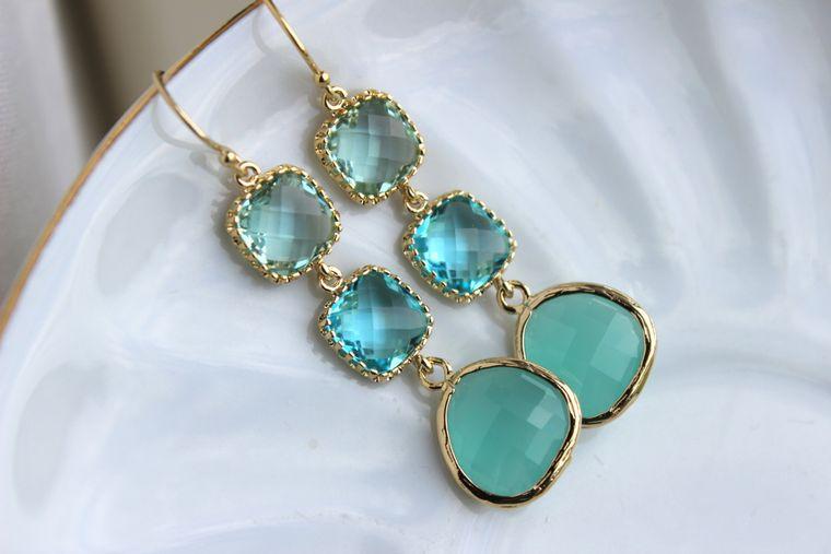 Mint Blue Aquamarine Earrings Gold Prasiolite Green Three Tiered Jewelry - Bridesmaid Earrings - Wedding Earrings Blue Green Wedding Jewelry