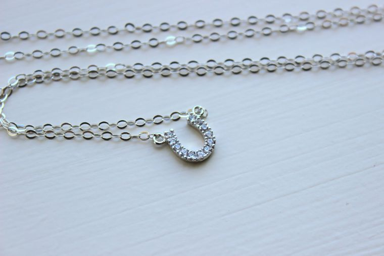 Silver Horseshoe Necklace Horse Shoe Jewelry - Horseshoe Charm - Simple Dainty Charm Necklace Jewelry Silver Charm Bridesmaid Gift under 25