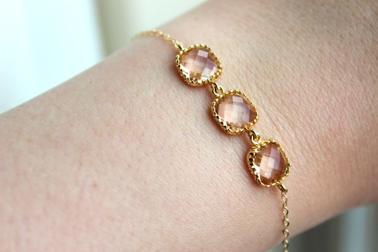 Dainty Blush Champagne Bracelet Three Square Gold Plated Peach Jewelry Bridesmaid Bracelet - Bridal Bracelet Blush Champagne Wedding Jewelry