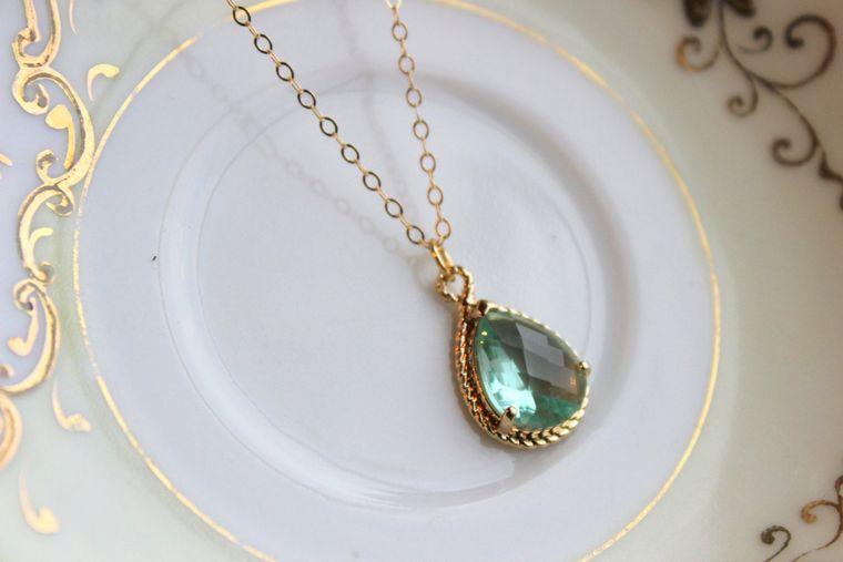 Green Prasiolite Teardrop Necklace Gold - 14k Gold Filled Chain - Bridesmaid Necklace - Prasiolite Green Bridesmaid Jewelry Wedding Jewelry