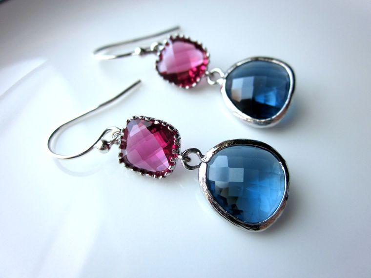 Blue Sapphire Navy Earrings Fuchsia Pink Silver Glass Gems Sterling Silver Earwires Bridesmaid Earrings - Wedding Earrings - Wedding Jewelr