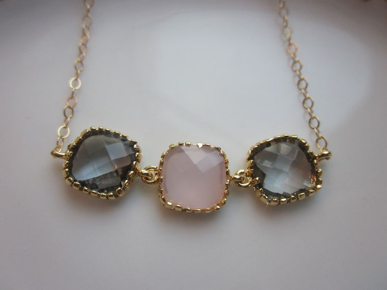 Charcoal Gray Necklace Pink Opal Gold Plated - Gold Filled Chain - Wedding Jewelry - Bridesmaid Jewelry - Valentines Day Gift