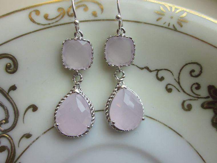 Pink Opal Earrings Silver Pink Two Tier Earrings Teardrop Glass - Sterling Silver Earwires - Bridesmaid Earrings Wedding Earrings