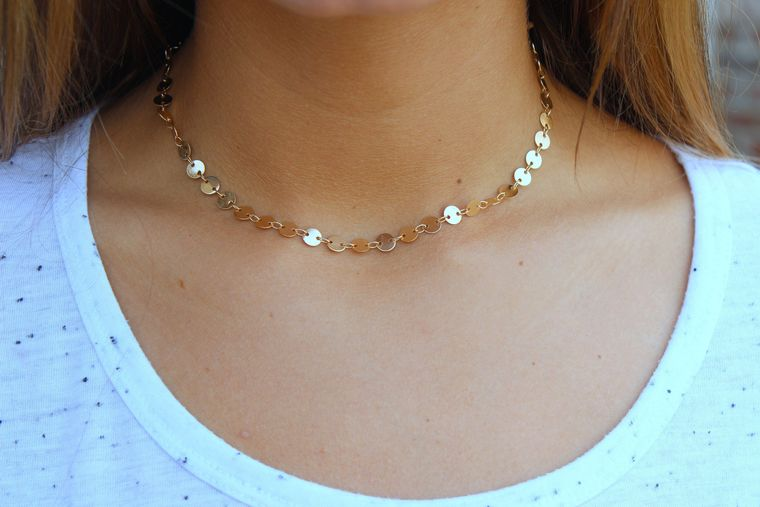Coin Chain Necklace, Coin Chain Jewelry, Dainty Choker, Rose Gold Choker, Gold Choker, Silver Choker, Minimalist Necklace, Gift under 20