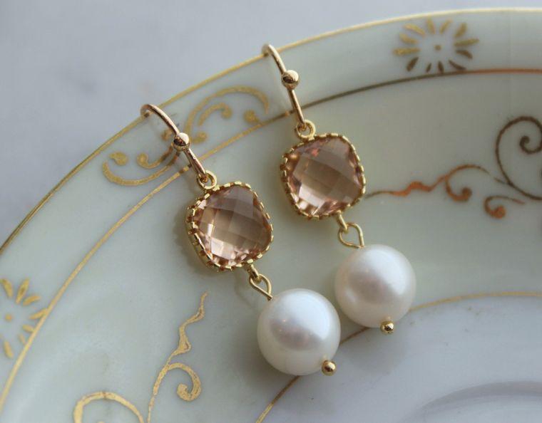 Pearl Earrings, Blush Earrings, Wedding Jewelry, Champagne Wedding Earrings, Bridal Party Gifts, Bridesmaid Earrings Bridesmaid Jewelry