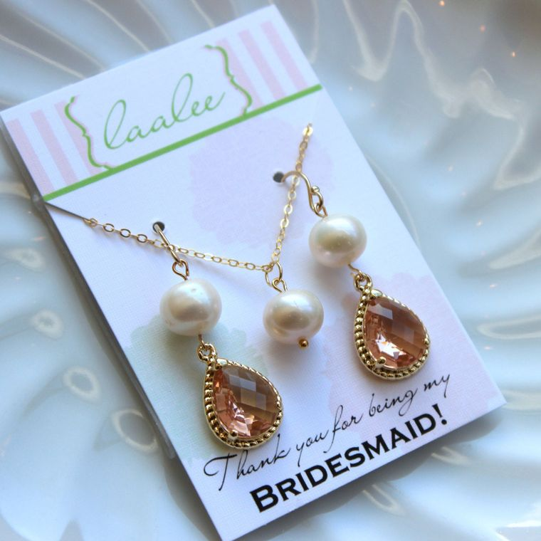 Gold Freshwater Pearl Jewelry Set Champagne Blush Earrings Necklace Set - Gold filled chain - Pink Peach Jewelry Set Gold