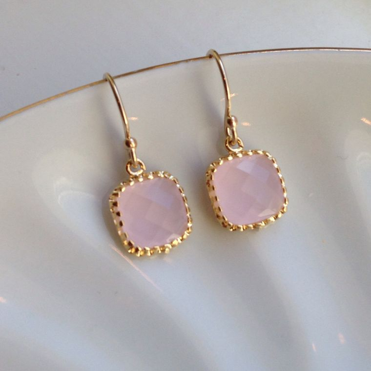 Small Dainty Opal Pink Earrings Gold Plated - Bridesmaid Earrings - Wedding Earrings - Wedding Jewelry - Bridal Earrings