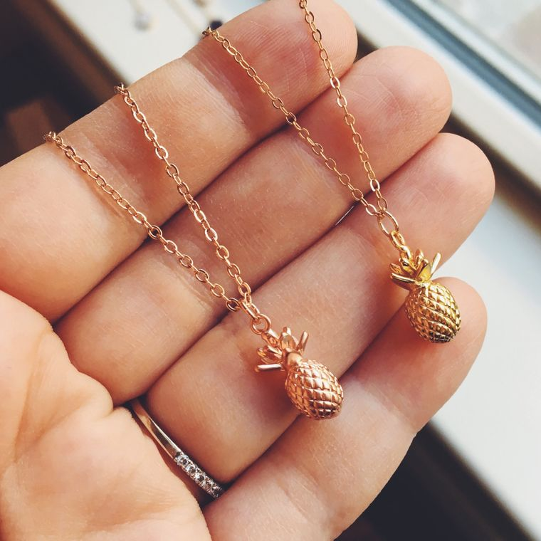 Pineapple Necklace Pineapple Jewelry Gold Rose Gold Necklace Charm Jewelry - as seen on Instagram