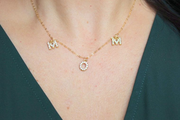 Gold Mom Necklace, Crystal Mom Necklace, Gold Name Necklace, Personalized Jewelry Custom Name Necklace, Gold Letter Necklace, Mama Necklace