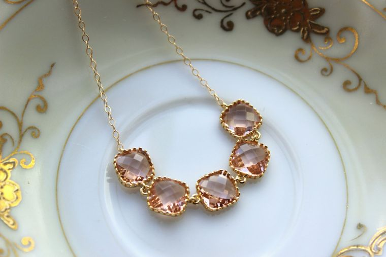 Champagne Blush Necklace Gold Plated Peach Necklace - Bridesmaid Gift - Bridal Necklace Champagne Blush Wedding Jewelry - Bridesmaid Jewelry