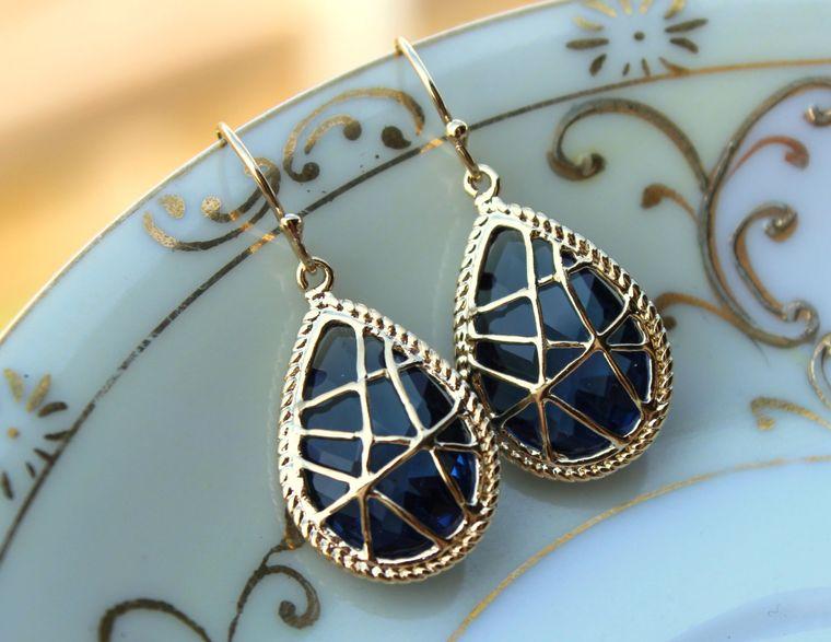 Sapphire Earrings Navy Blue Gold Teardrop Jewelry Navy Bridesmaid Earrings - Bridal Earrings - Wedding Earrings - Sapphire Wedding Jewelry