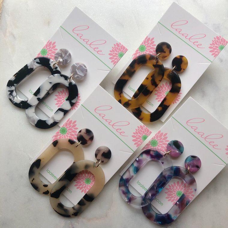 Acrylic Stud Earrings, Acrylic Jewelry, Tortoise Shell Earrings, Hoop Earrings, Statement Earrings, Statement Jewelry
