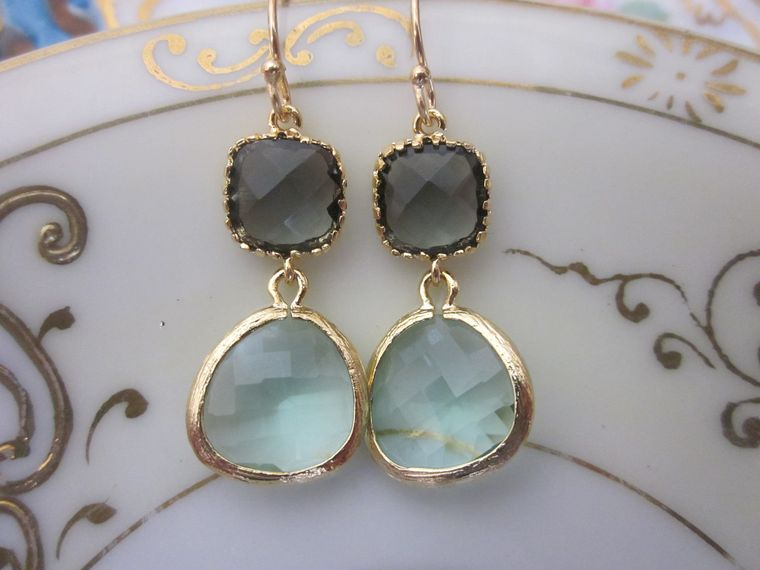 Gold Prasiolite Earrings Black Square - Glass Earrings - Bridesmaid Earrings - Bridal Earrings - Wedding Earrings